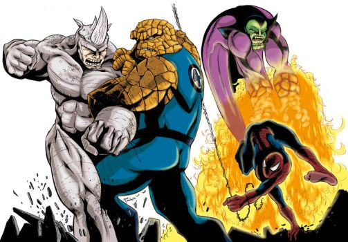 The Thing and Spiderman by Alfonso-Pinedo