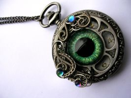 Green Fey Dragon Pocket Watch - Timepiece by LadyPirotessa
