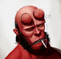 I'm mad at this painting of Hellboy by Gingerscoffee
