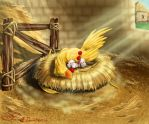 Chocobo nap-time with Moogles by MuddyTiger