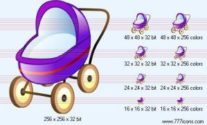 Baby carriage Icon by medical-icon-set