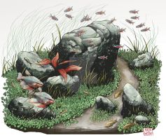Middle Panel of Planted Aquarium Triptych Poster by aaronjohngregory