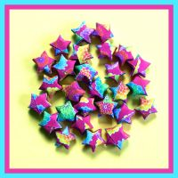 Pink Floral Origami Stars by xxpinky-bubblesxx