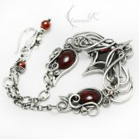 AXEMMENTH Silver, Red zirconia, Garnet by LUNARIEEN