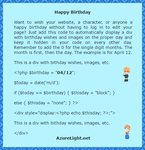PHP Happy Bithday Tutorial by MikariStar