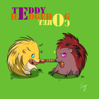 Hedgehog Teddy and Corey by Evelynism