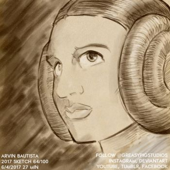 Arvin Bautista Sketches 2017 64/100: Princess Leia by greasypigstudios