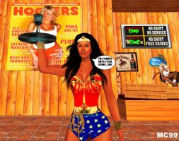 Wonder Woman Works At Hooters by The-Mind-Controller