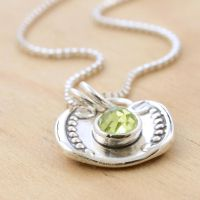 Spoon Pendant with Rose-Cut Peridot by metalsmitten