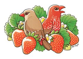 Strawberry Finches by jentuyet
