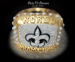 Saints Super Bowl Ring Cake by ArteDiAmore
