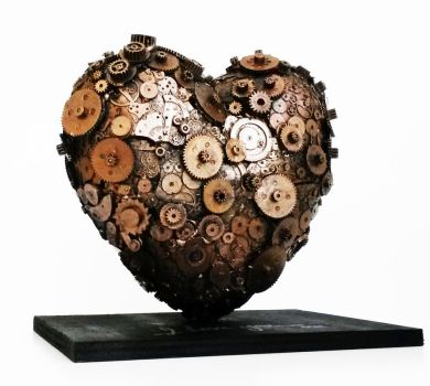 clockwork heart sculpture by richardsymonsart