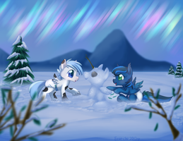 Snowy Ponies by Eevie-chu