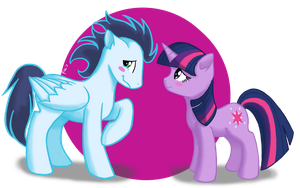 Commission: Soarin asking out Twilight by Pikkinon