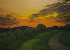 'Sunset on the olive' by tatopainting