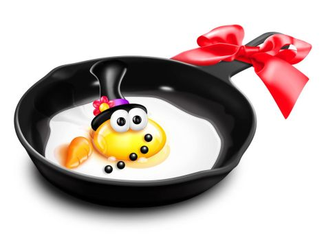 Whimsical Cartoon Egg Snowman in Frying Pan by KomodoEmpire