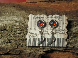 8th note Earrings SS with Dragon's Breath by artistiquejewelry