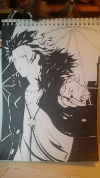 K-project red king, marker drawing by Seizu-sha