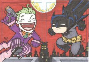 Chibi-Joker,Batman Sketchcards by hedbonstudios