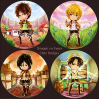 Collab. Attack on Titan Chibi Badges by Gin-Uzumaki