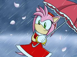 Amy with Umbrella :Redraw: by Lucky-Sonic-77-d