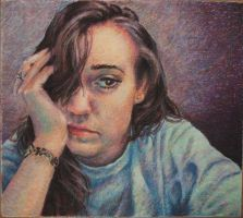 oil pastel self portrait by liz3889