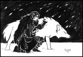 Lord Snow and his Ghost by Panimated