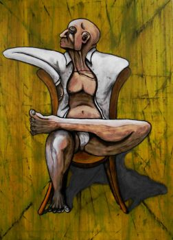 Seated figure with a monocle by FDJensen