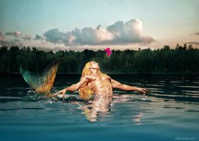 Merman and Butterfly by seawaterwitch