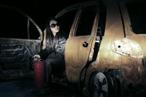 Frank Yang's burned car. by digitalairair