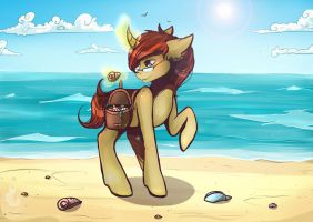 Commission: Sand Stallion on the Beach by Wilvarin-Liadon