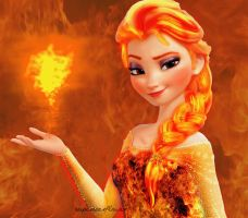 Fire Queen Elsa by superstarflower