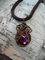 Rivoli stoned silk corded necklace by DaisyLeeDesigns