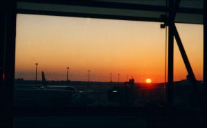 Barcelona - Sunset on airport by nftadaedalus