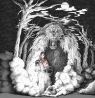 Red Riding Hood in the Woods by Fessel