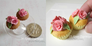 1:6 vs 1:3 Rose Cupcake Comparisons by Snowfern