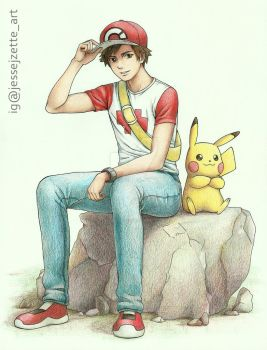 Red and Pikachu by jessejzette