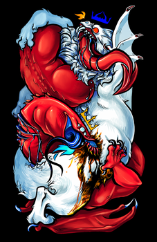 The Red And White Dragons by flatw00ds