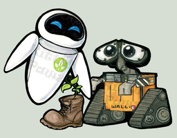 Wall-e and Eve Chibi Stickers by ButtercupBabyPPG