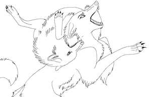 Lineart  Pandore wolf vs wolf by raven-morticia