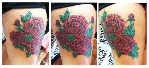 Cluster of Rose flowers on thigh by Ashtonbkeje