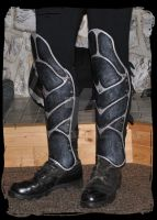 leather greaves by Lagueuse