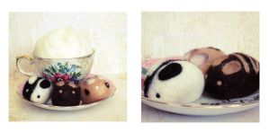Black White Cookie Needle Felted Bunny by ShadowedPorcelain