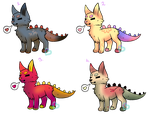 Dino-dogs adopts (open) by livesfordrawings
