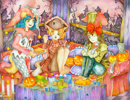 Commission: Halloween and Tea Party by ramlyngrace