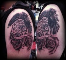 Skull roses Crow raven stopwatch cross tattoo by Slabzzz