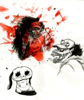 Paranoia Agent ink sketches by Robo-Shark