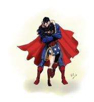 Superman and Wonder Woman hug by rudecherub
