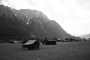 Hay Barns in the Alps by Euvanesiel