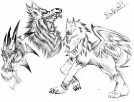 Dragon wolf and gryphon by RinaTiger-Art